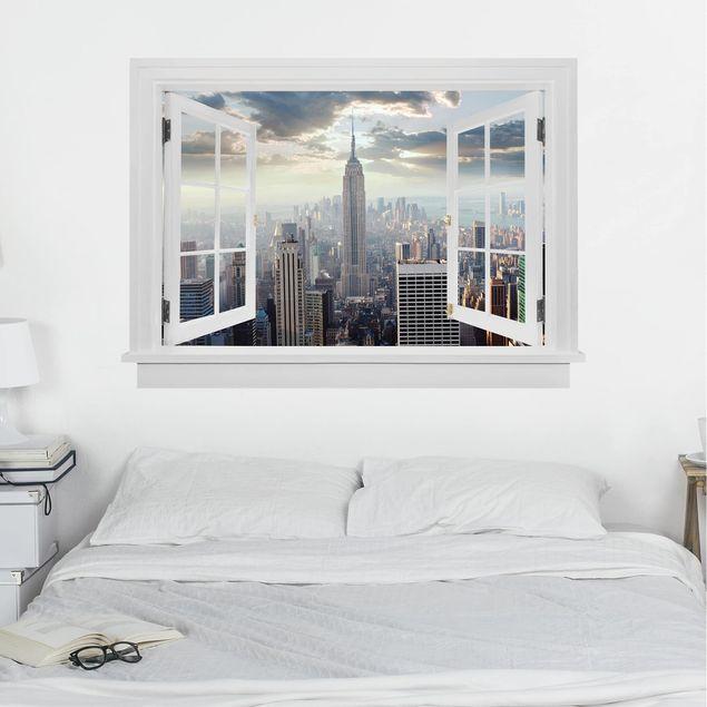 Produktfoto 3D Wandtattoo - Offenes Fenster Sonnenaufgang in New York