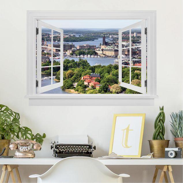 Produktfoto 3D Wandtattoo - Offenes Fenster Stockholm City