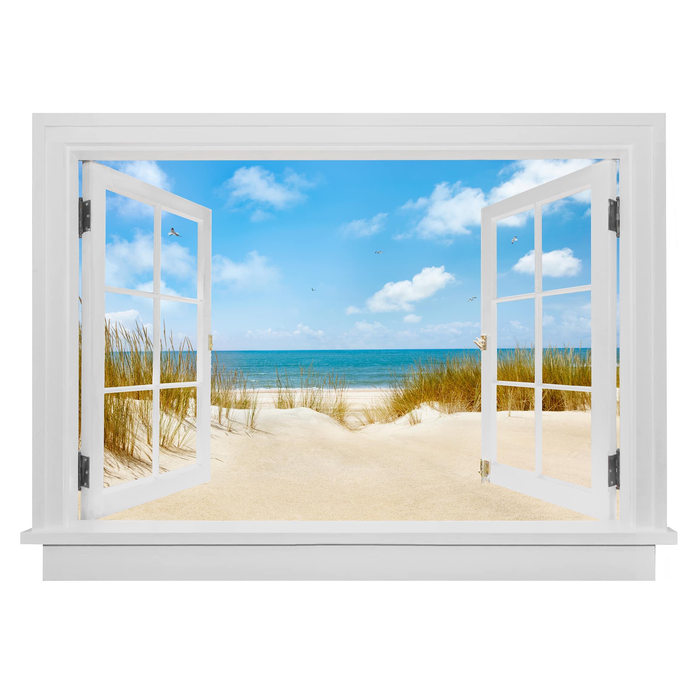 3D Wandtattoo fenes Fenster Strand an der Nordsee