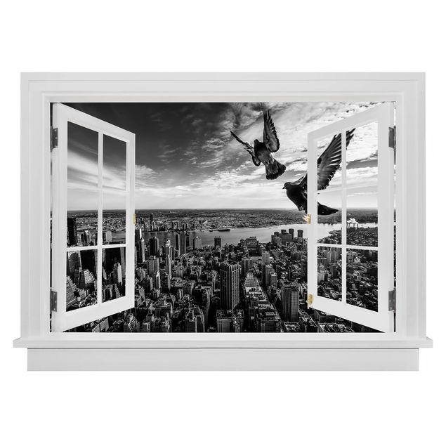 Produktfoto 3D Wandtattoo - Offenes Fenster Tauben auf dem Empire State Building