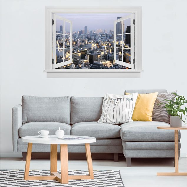 Produktfoto 3D Wandtattoo - Offenes Fenster Tokyo City