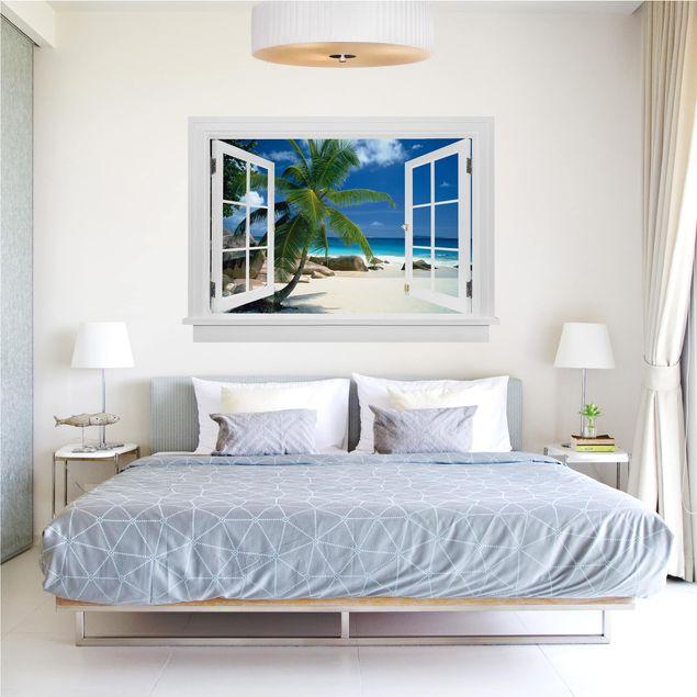 Produktfoto 3D Wandtattoo - Offenes Fenster Traumstrand