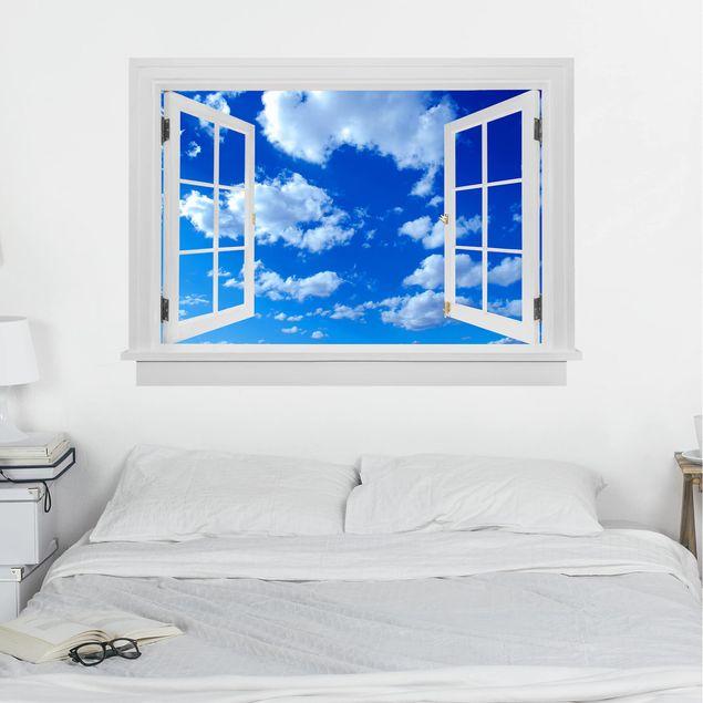 Produktfoto 3D Wandtattoo - Offenes Fenster Wolkenhimmel