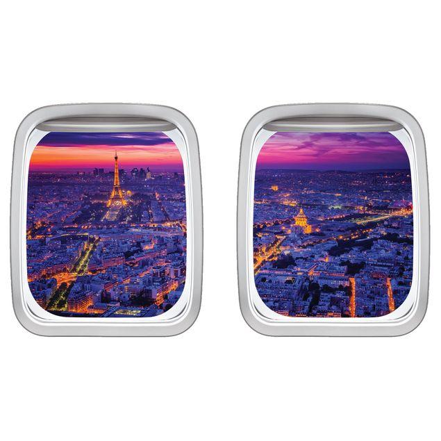 Produktfoto 3D Wandtattoo - Doppelfenster Flugzeug Paris bei Nacht