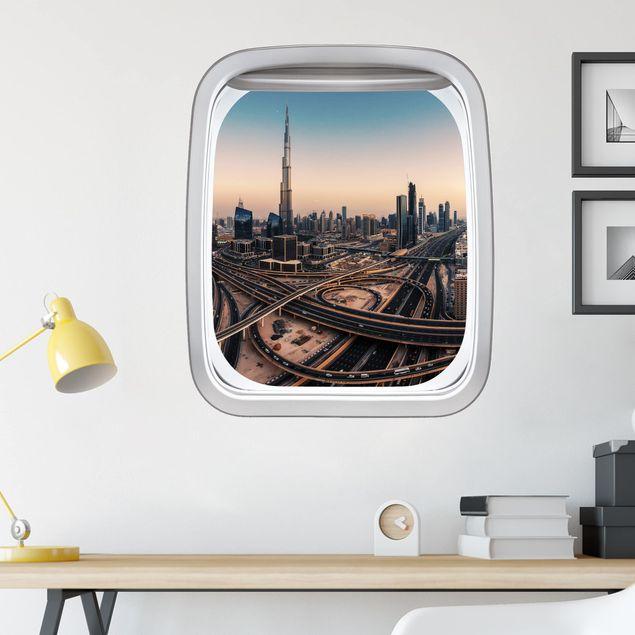 Produktfoto 3D Wandtattoo - Fenster Flugzeug Abendstimmung in Dubai