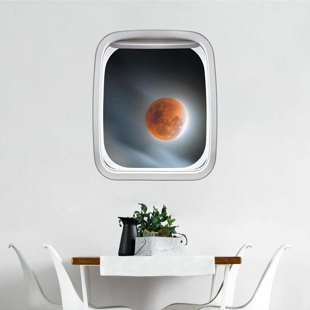 Produktfoto 3D Wandtattoo - Fenster Flugzeug Blutroter Mond