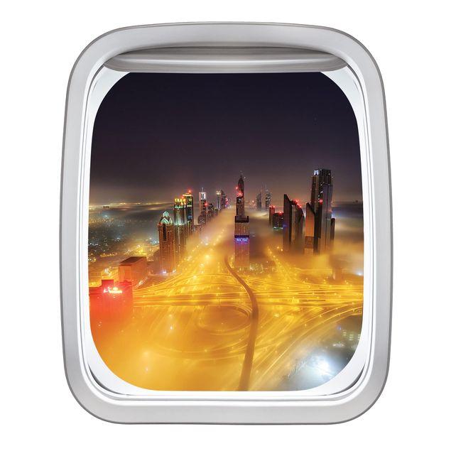 Produktfoto 3D Wandtattoo - Fenster Flugzeug Dubai bei Nacht im Nebel