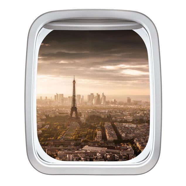 Produktfoto 3D Wandtattoo - Fenster Flugzeug Großartiger Blick über Paris