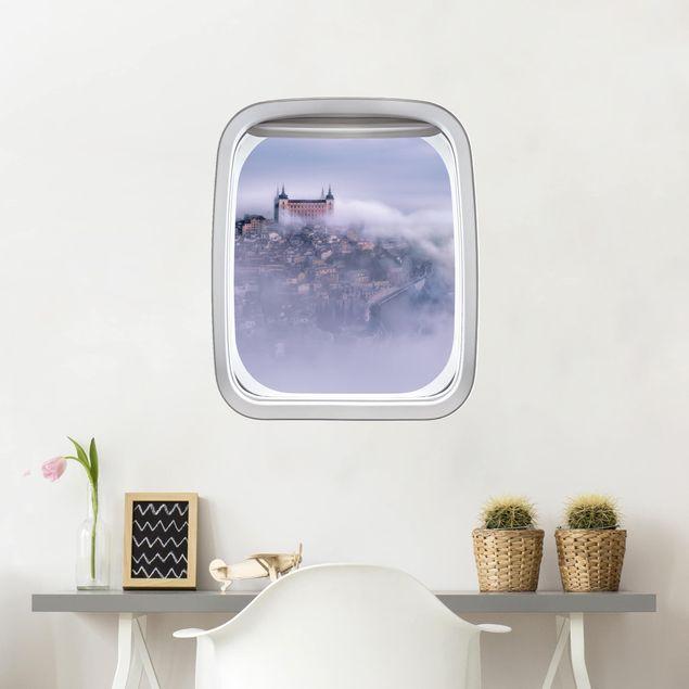 Produktfoto 3D Wandtattoo - Fenster Flugzeug Stadt Toledo im Nebel