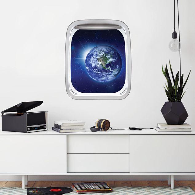 Produktfoto 3D Wandtattoo - Fenster Flugzeug Erde im Weltall