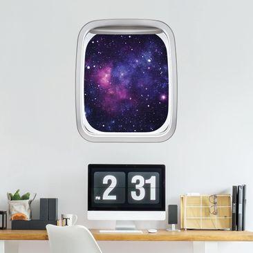 Produktfoto 3D Wandtattoo - Fenster Flugzeug Galaxie