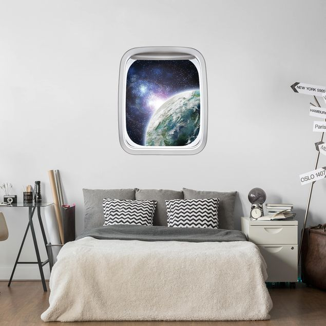 Produktfoto 3D Wandtattoo - Fenster Flugzeug Galaxy Light