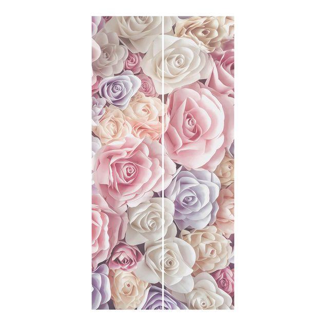 Produktfoto Schiebegardinen Set - Pastell Paper Art Rosen - 2 Flächenvorhänge