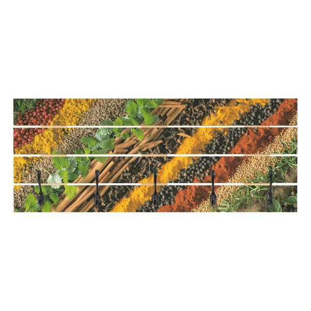 Produktfoto Wandgarderobe Holz - Gewürzstreifen - Haken schwarz Querformat