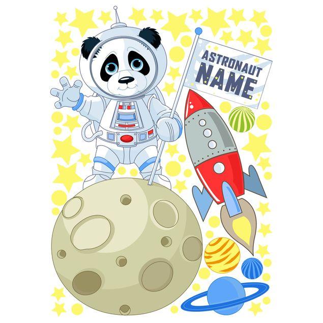 Produktfoto Wandtattoo Kinderzimmer mit Wunschtext - Astronaut Panda