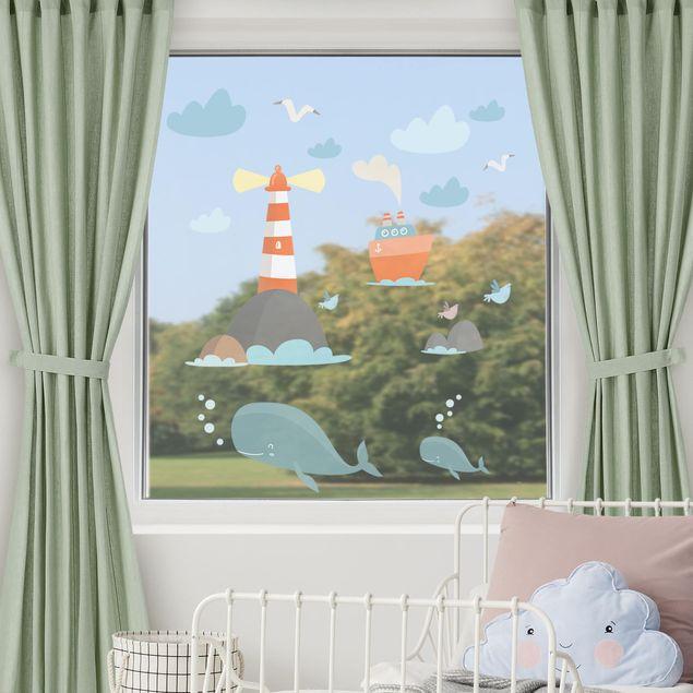 Produktfoto Fensterfolie Fenstersticker Kinderzimmer - Leuchtturm und Wale