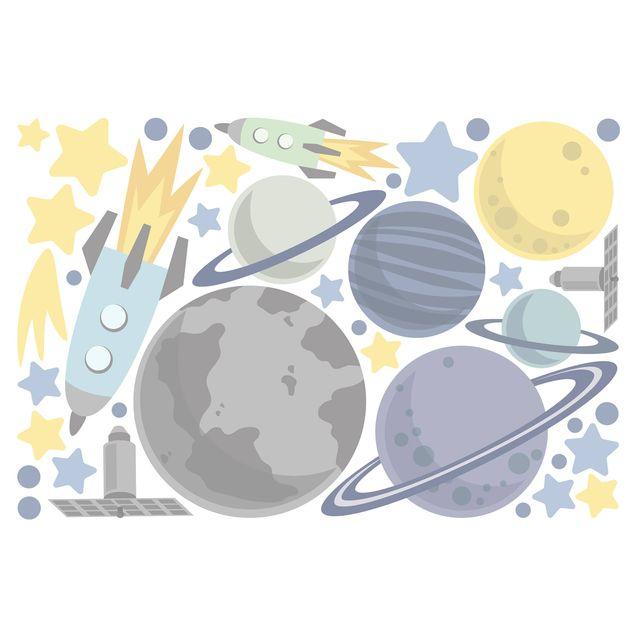 Produktfoto Fensterfolie Fenstersticker Kinderzimmer - Rakete und Planeten