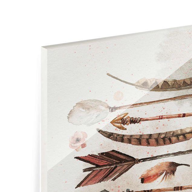 Produktfoto Glasbild - Boho Pfeile und Federn - Aquarell - Hochformat 4:3