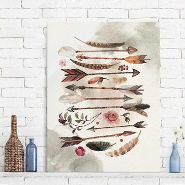 Immagine del prodotto Quadro in vetro - Boho Arrows And Feathers - Watercolor - Verticale 4:3