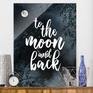 Produktfoto Glasbild - Love you to the moon and back - Hochformat 4:3