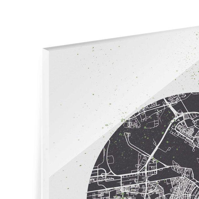 Produktfoto Glasbild - Stadtplan Amsterdam - Retro - Hochformat 4:3