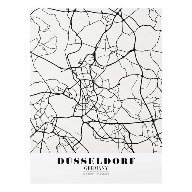 Produktfoto Glasbild - Stadtplan Düsseldorf - Klassik - Hochformat 4:3