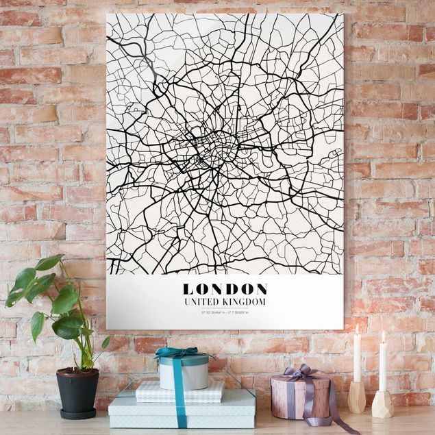 Produktfoto Glasbild - Stadtplan London - Klassik - Hochformat 4:3