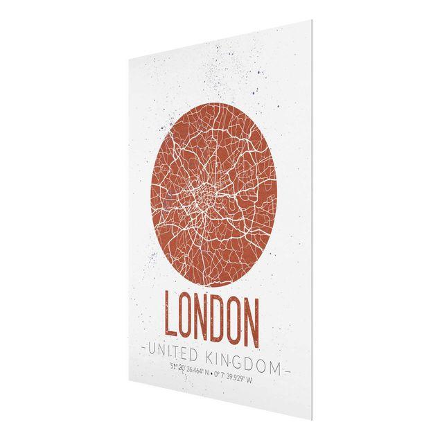 Produktfoto Glasbild - Stadtplan London - Retro - Hochformat 4:3