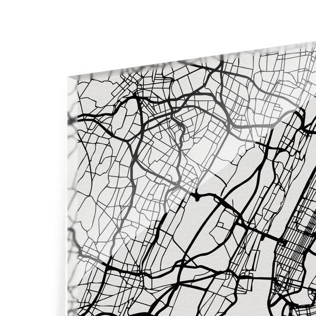 Produktfoto Glasbild - Stadtplan New York - Klassik - Hochformat 4:3