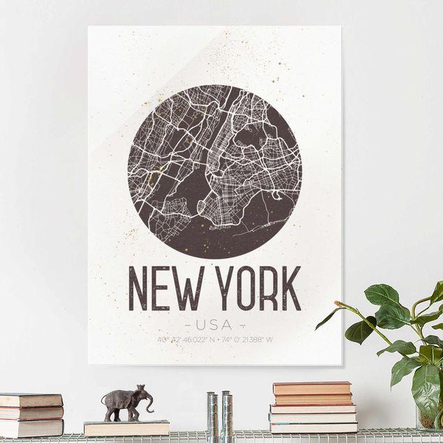 Produktfoto Glasbild - Stadtplan New York - Retro - Hochformat 4:3