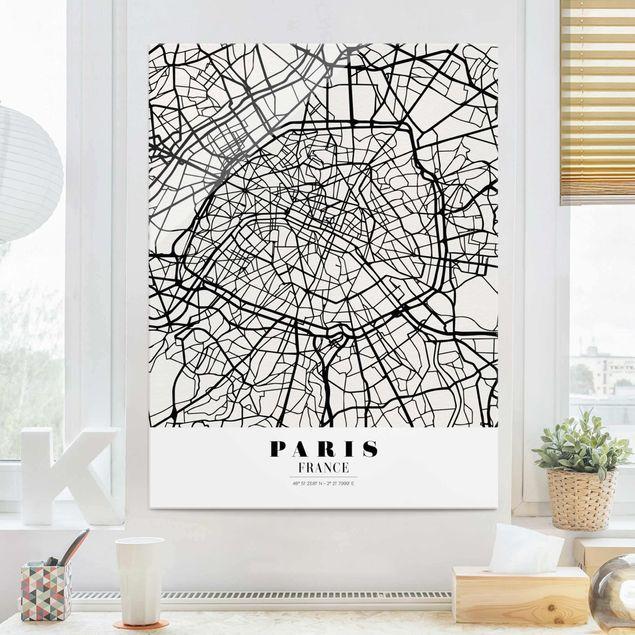 Produktfoto Glasbild - Stadtplan Paris - Klassik - Hochformat 4:3