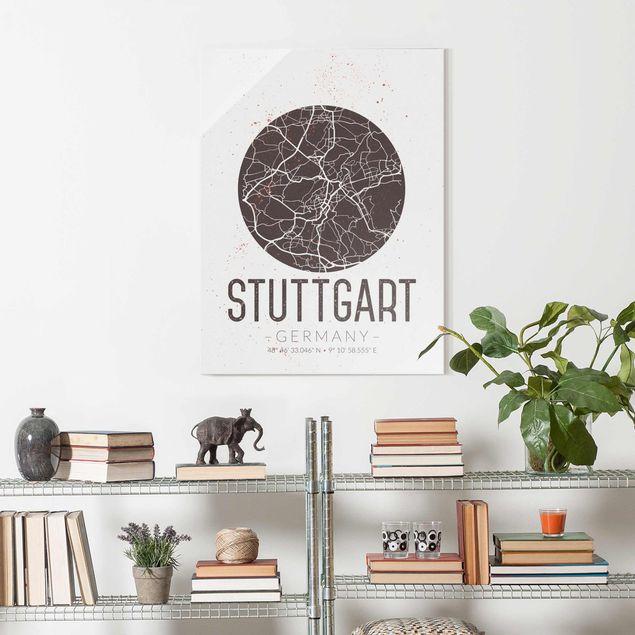 Produktfoto Glasbild - Stadtplan Stuttgart - Retro - Hochformat 4:3