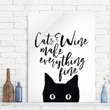 Produktfoto Glasbild - Cats and Wine make everything fine - Hochformat 4:3