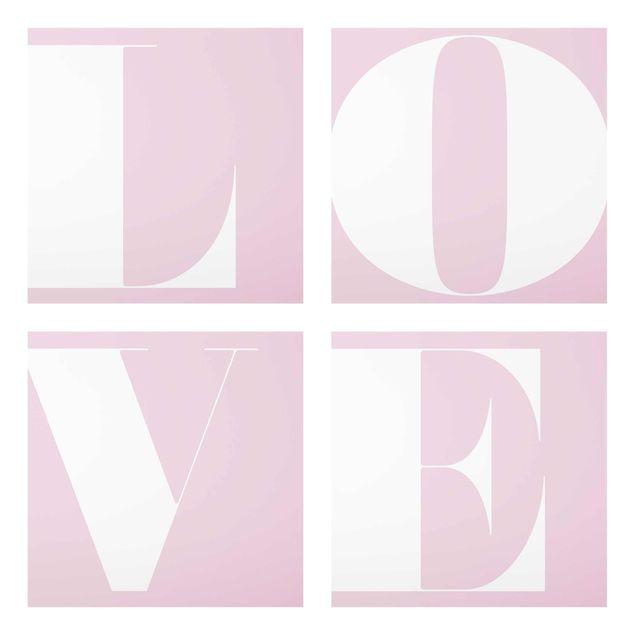 Produktfoto Glasbild mehrteilig - Antiqua Letter Love Rosé - 4-teilig