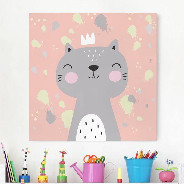Produktfoto Leinwandbild - Freche Katze - Quadrat 1:1, vergrößerte Ansicht in Wohnambiente, Artikelnummer 229463-XWA