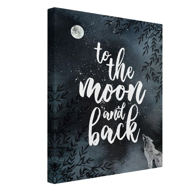 Produktfoto Leinwandbild - Love you to the moon and back - Hochformat 4:3, Spiegelkantendruck links, Artikelnummer 229474-FL