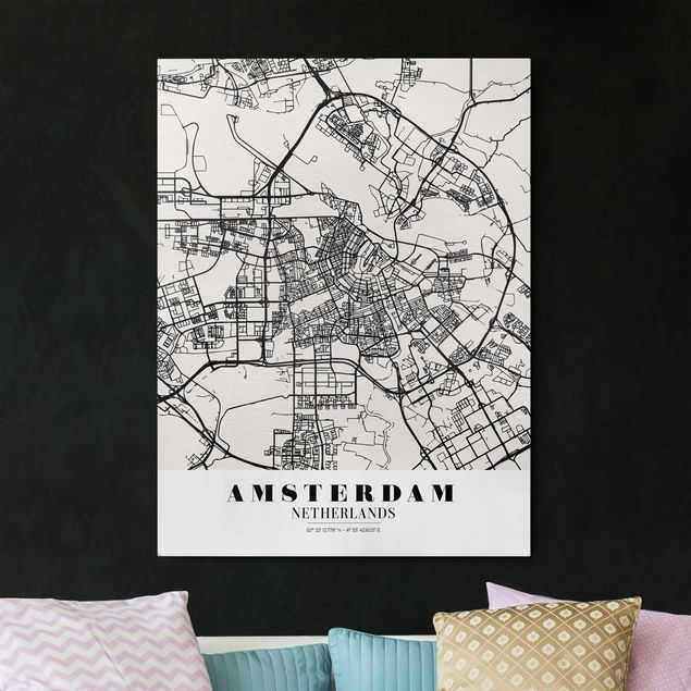 Produktfoto Leinwandbild - Stadtplan Amsterdam - Klassik - Hochformat 4:3, vergrößerte Ansicht in Wohnambiente, Artikelnummer 229478-XWA