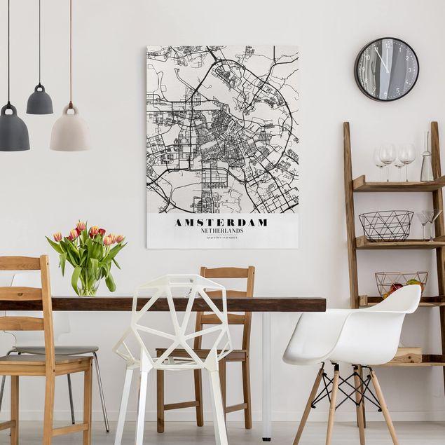 Produktfoto Leinwandbild - Stadtplan Amsterdam - Klassik - Hochformat 4:3, in Wohnambiente, Artikelnummer 229478-WA