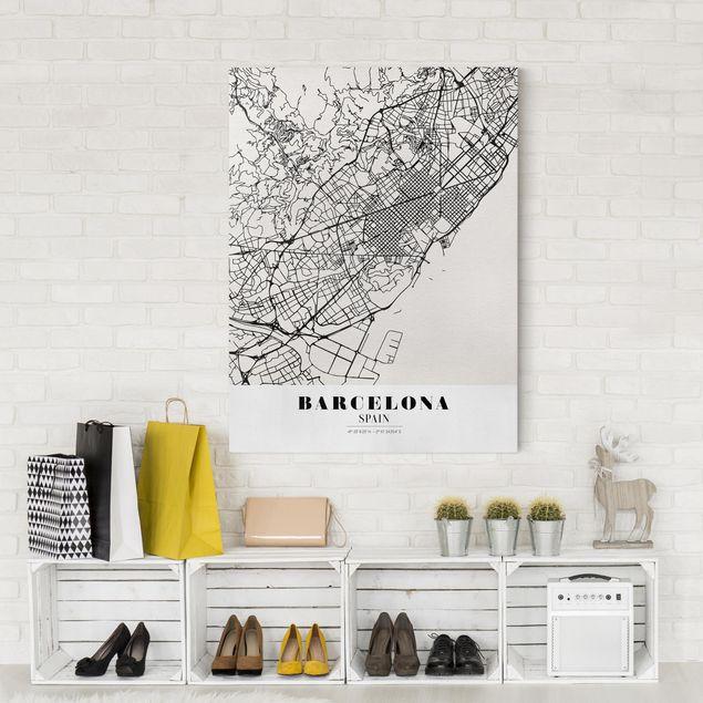 Produktfoto Leinwandbild - Stadtplan Barcelona - Klassik - Hochformat 4:3, in Wohnambiente, Artikelnummer 229480-WA