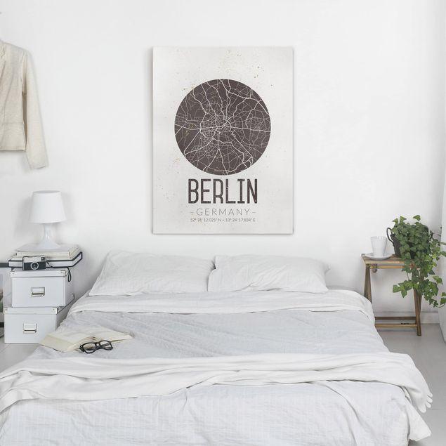 Produktfoto Leinwandbild - Stadtplan Berlin - Retro - Hochformat 4:3, in Wohnambiente, Artikelnummer 229484-WA