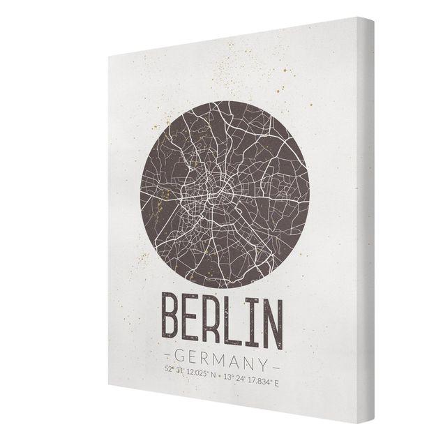 Produktfoto Leinwandbild - Stadtplan Berlin - Retro - Hochformat 4:3, Spiegelkantendruck rechts, Artikelnummer 229484-FR