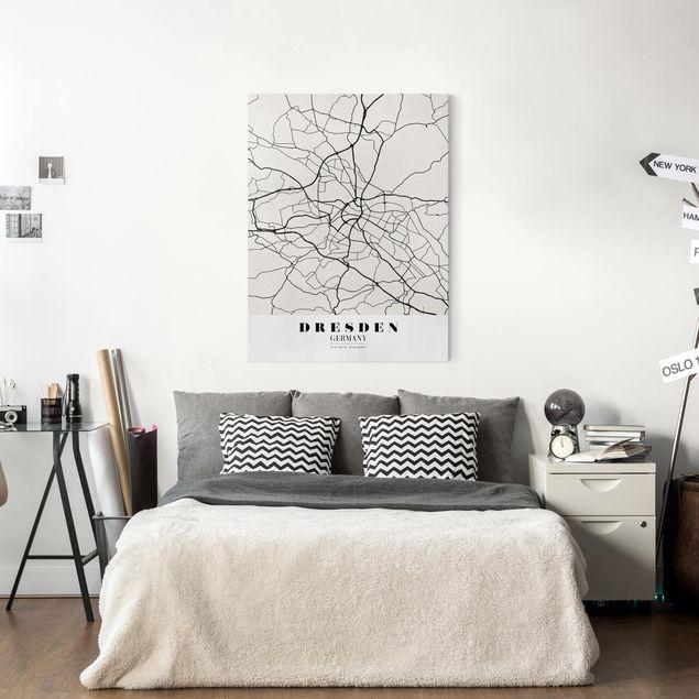 Produktfoto Leinwandbild - Stadtplan Dresden - Klassik - Hochformat 4:3, in Wohnambiente, Artikelnummer 229486-WA