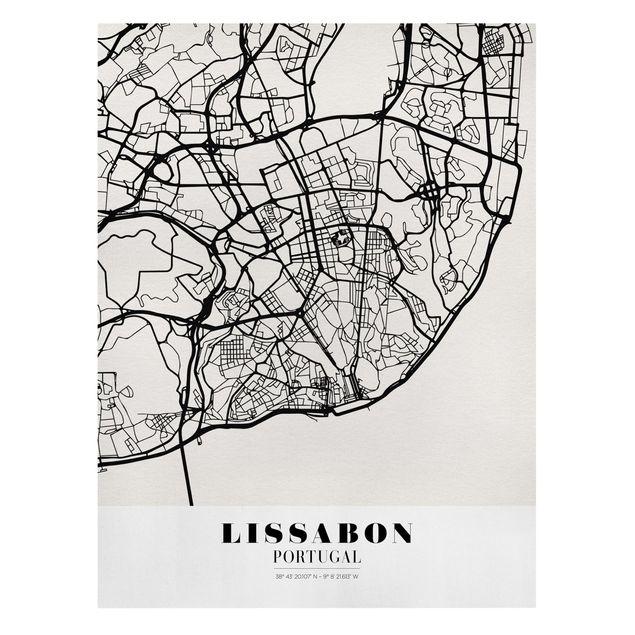 Produktfoto Leinwandbild - Stadtplan Lissabon - Klassik - Hochformat 4:3, Frontalansicht, Artikelnummer 229495-FF