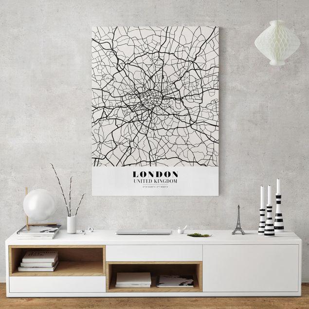 Produktfoto Leinwandbild - Stadtplan London - Klassik - Hochformat 4:3, in Wohnambiente, Artikelnummer 229497-WA