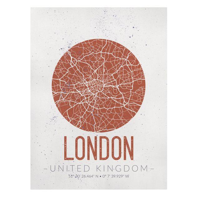 Produktfoto Leinwandbild - Stadtplan London - Retro - Hochformat 4:3, Frontalansicht, Artikelnummer 229498-FF