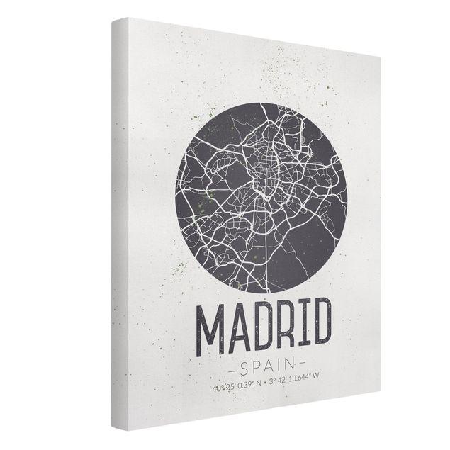 Produktfoto Leinwandbild - Stadtplan Madrid - Retro - Hochformat 4:3, Spiegelkantendruck links, Artikelnummer 229499-FL