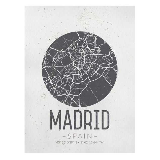 Produktfoto Leinwandbild - Stadtplan Madrid - Retro - Hochformat 4:3, Frontalansicht, Artikelnummer 229499-FF