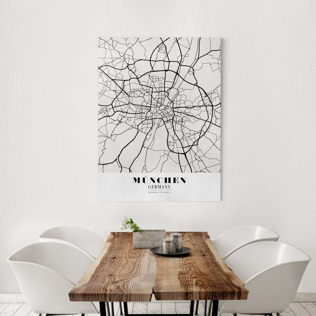 Produktfoto Leinwandbild - Stadtplan München - Klassik - Hochformat 4:3, in Wohnambiente, Artikelnummer 229500-WA
