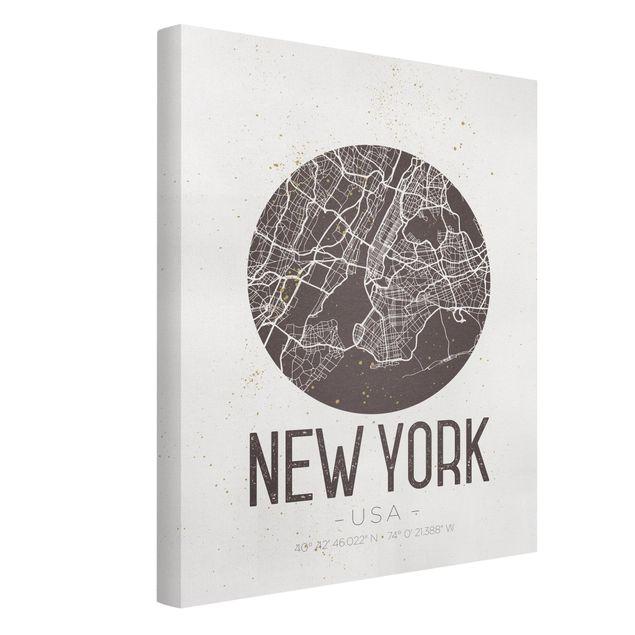 Produktfoto Leinwandbild - Stadtplan New York - Retro - Hochformat 4:3, Spiegelkantendruck links, Artikelnummer 229502-FL