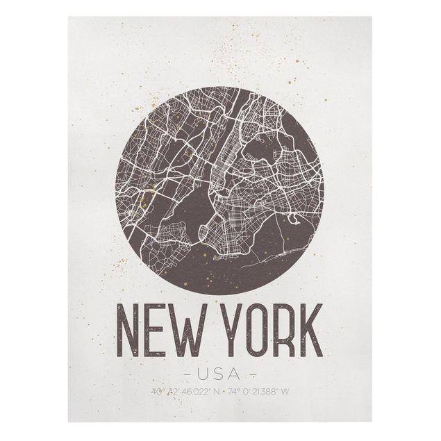 Produktfoto Leinwandbild - Stadtplan New York - Retro - Hochformat 4:3, Frontalansicht, Artikelnummer 229502-FF